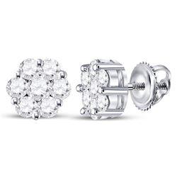 Womens Round Diamond Flower Cluster Earrings 3/4 Cttw 14kt White Gold - REF-46R5X