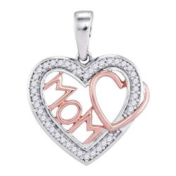 Womens Round Diamond Mom Mother Heart Pendant 1/10 Cttw 10kt Two-tone Gold - REF-10F5W