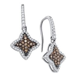 Womens Round Brown Diamond Star Dangle Earrings 5/8 Cttw 10kt White Gold - REF-27R9X