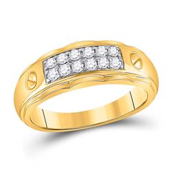 Mens Round Diamond Wedding Band Ring 3/8 Cttw 10kt Yellow Gold - REF-32M5H