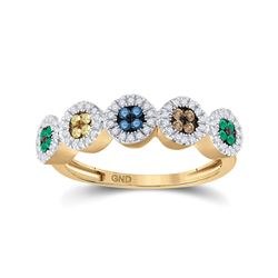 Womens Round Multi Color Enhanced Diamond Cluster Ring 3/8 Cttw 10kt Yellow Gold - REF-20M5H