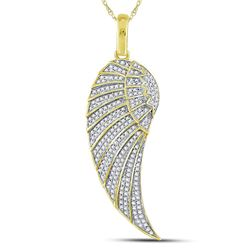 Mens Round Diamond Angel Wing Charm Pendant 5/8 Cttw 10kt Yellow Gold - REF-32K5Y
