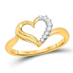 Womens Round Diamond Heart Ring 1/20 Cttw 10kt Yellow Gold - REF-8W5K