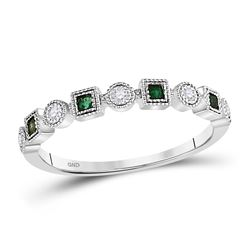Womens Princess Emerald Diamond Square Dot Stackable Band Ring 1/8 Cttw 10kt White Gold - REF-12Y9N