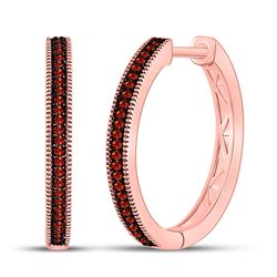 Womens Round Red Color Enhanced Diamond Single Row Hoop Earrings 1/6 Cttw 10kt Rose Gold - REF-19X5A