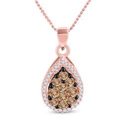 Womens Round Brown Diamond Teardrop Pendant 3/4 Cttw 10kt Rose Gold - REF-21K5Y