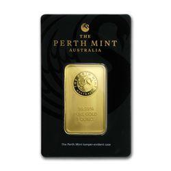 Genuine 1 oz 0.9999 Fine Gold Bar - Perth Mint