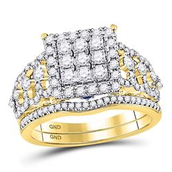 Round Diamond Bridal Wedding Ring Band Set 1 Cttw 14kt Yellow Gold - REF-93R9X
