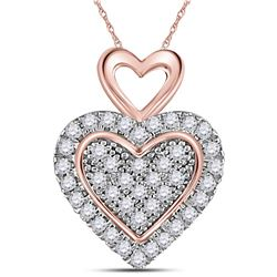 Womens Round Diamond Heart Pendant 1/6 Cttw 10kt Two-tone Gold - REF-9H5R