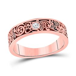 Mens Round Diamond Wedding Floral Band Ring 1/12 Cttw 14kt Rose Gold - REF-43R5X