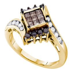 Womens Princess Brown Diamond Cluster Ring 3/4 Cttw 14kt Yellow Gold - REF-43R9X