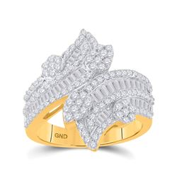 Womens Baguette Diamond Bypass Cluster Fashion Ring 1-1/3 Cttw 14kt Yellow Gold - REF-107K5Y