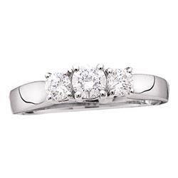Round Diamond 3-stone Bridal Wedding Engagement Ring 1-1/2 Cttw 14kt White Gold - REF-150K9Y