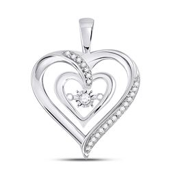 Womens Round Diamond Moving Twinkle Solitaire Heart Pendant 1/10 Cttw 10kt White Gold - REF-16W9K