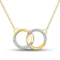 Womens Round Diamond Interlocking Double Circle Pendant Necklace 1/10 Cttw 10kt Yellow Gold - REF-15