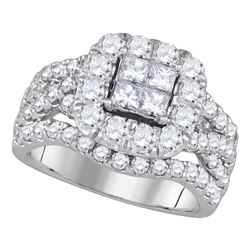 Princess Diamond Cluster Bridal Wedding Engagement Ring 2-1/2 Cttw 14kt White Gold - REF-184M9H