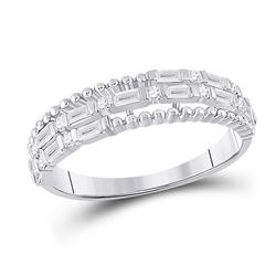 Womens Baguette Diamond Fashion Band Ring 3/8 Cttw 14kt White Gold - REF-38X9A