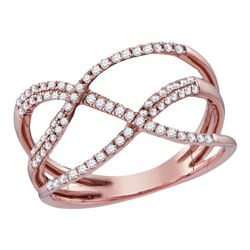 Womens Round Diamond Open Strand Crossover Band Ring 1/3 Cttw 10kt Rose Gold - REF-19K9Y