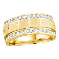 Mens Round Diamond Grecco Cross Wedding Anniversary Band Ring 1 Cttw 14k Yellow Gold - REF-104K9Y