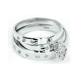 His Hers Round Diamond Cluster Matching Wedding Set 1/10 Cttw 14kt White Gold - REF-30A9M