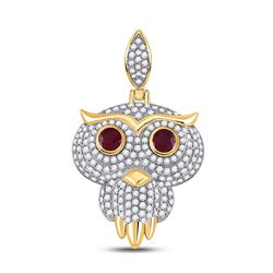 Mens Round Ruby Diamond Owl Bird Charm Pendant 2-5/8 Cttw 14kt Yellow Gold - REF-126Y9N