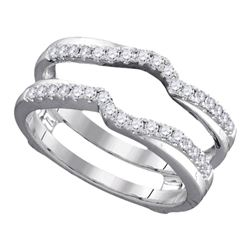 Womens Round Diamond Ring Guard Wrap Ring Guard Enhancer 1/3 Cttw 14kt White Gold - REF-46R5X