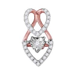 Womens Moving Round Diamond Heart Pendant 1/6 Cttw 10kt White Gold - REF-16F9W