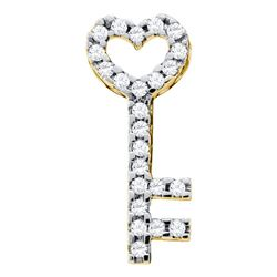 Womens Round Diamond Key Heart Pendant 1/4 Cttw 10kt Yellow Gold - REF-13Y9N