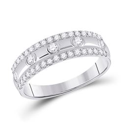 Womens Round Diamond Anniversary Ring 1/2 Cttw 10kt White Gold - REF-30X5A