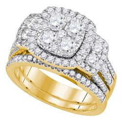 Round Diamond Cluster Bridal Wedding Ring Band Set 2 Cttw 14kt Yellow Gold - REF-197W5K
