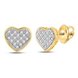 Womens Round Diamond Heart Cluster Stud Earrings 1/10 Cttw 10kt Yellow Gold - REF-8H9R