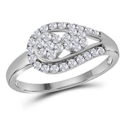 Womens Round Diamond 2-stone Cluster Ring 1/2 Cttw 14kt White Gold - REF-36A5M