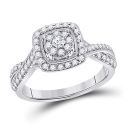 Womens Round Diamond Square Cluster Ring 1/2 Cttw 14kt White Gold - REF-52X9A