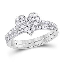 Round Diamond Heart Bridal Wedding Ring Band Set 1/2 Cttw 10kt White Gold - REF-38R9X