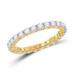 Womens Round Diamond Eternity Wedding Band 1-1/2 Cttw Size 8 14kt Yellow Gold - REF-83R5X