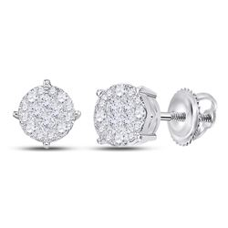 Womens Princess Round Diamond Cluster Earrings 1 Cttw 14kt White Gold - REF-76R5X