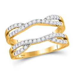 Womens Round Diamond Wedding Solitaire Enhancer Wedding Band 1/2 Cttw 14kt Yellow Gold - REF-53R5X