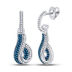 Womens Round Blue Color Enhanced Diamond Dangle Earrings 3/8 Cttw 10kt White Gold - REF-27M9H