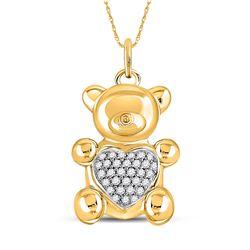 Womens Round Diamond Bear Heart Animal Pendant 1/10 Cttw 10kt Yellow Gold - REF-21Y5N