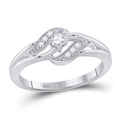 Womens Round Diamond Solitaire Promise Ring 1/6 Cttw 14kt White Gold - REF-20R9X