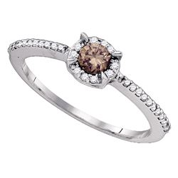 Round Brown Diamond Solitaire Bridal Wedding Engagement Ring 1/3 Cttw 10kt White Gold - REF-17N5F