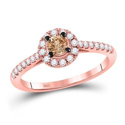 Round Brown Diamond Solitaire Bridal Wedding Engagement Ring 1/2 Cttw 10kt Rose Gold - REF-35A9M