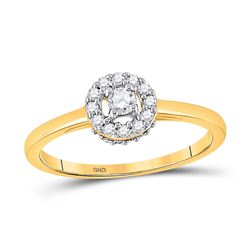 Womens Round Diamond Solitaire Halo Promise Ring 1/4 Cttw 10kt Yellow Gold - REF-20X9A