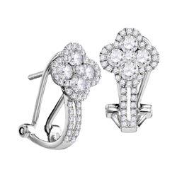 Womens Round Diamond Hoop Fashion Earrings 1 Cttw 10kt White Gold - REF-69F9W