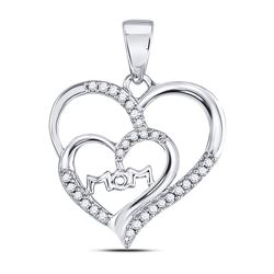 Womens Round Diamond Mom Mother Double Heart Pendant 1/8 Cttw 10kt White Gold - REF-7A5M