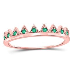 Womens Round Emerald Chevron Stackable Band Ring 1/10 Cttw 10kt Rose Gold - REF-8Y5N