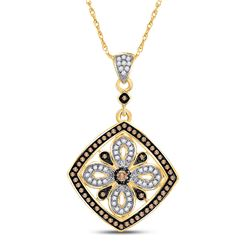 Womens Round Brown Diamond Square Pendant 3/8 Cttw 14kt Yellow Gold - REF-24W9K