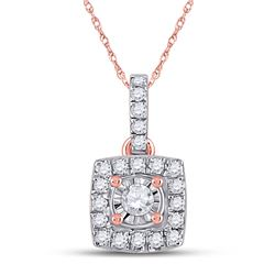 Womens Round Diamond Square Pendant 1/6 Cttw 10kt Rose Gold - REF-10Y5N