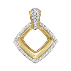 Womens Round Diamond Diagonal Framed Square Pendant 1/6 Cttw 10kt Yellow Gold - REF-14X9A