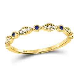 Womens Round Blue Sapphire Diamond Stackable Band Ring 1/10 Cttw 10kt Yellow Gold - REF-10F5W